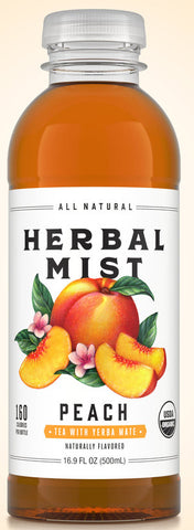 Herbal Mist PEACH TEA WITH YERBA MATE 16.9 oz 12 ct,
