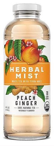 Organic Herbal Mist Glass Peach Ginger 14 oz.  12 ct.