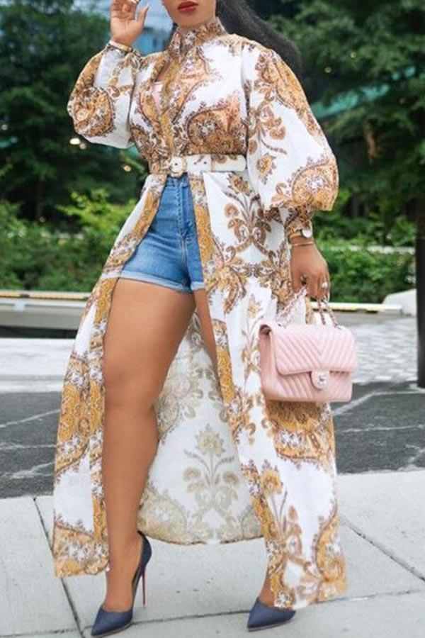Printed Puff Sleeve Long Shirt (With Belt)