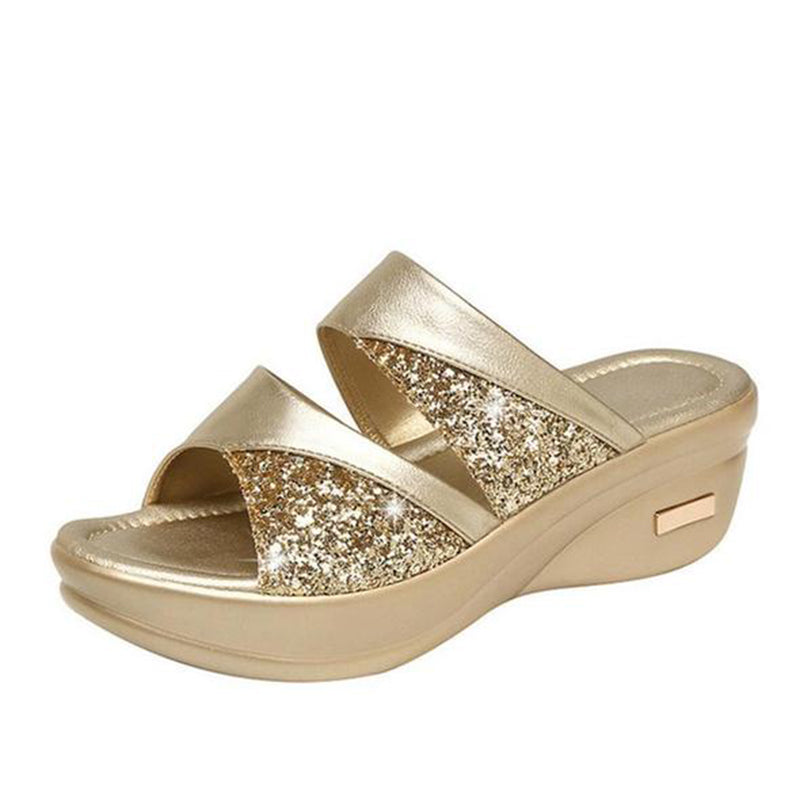 Women's platform wedge open toe glittery casual slippers