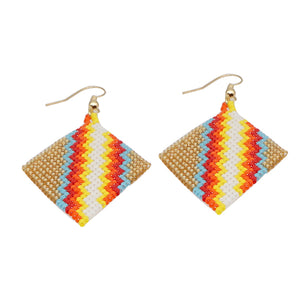 Hand-woven geometric simple earrings