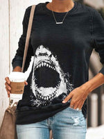 Load image into Gallery viewer, Women's Shark Print Casual Sweatshirt