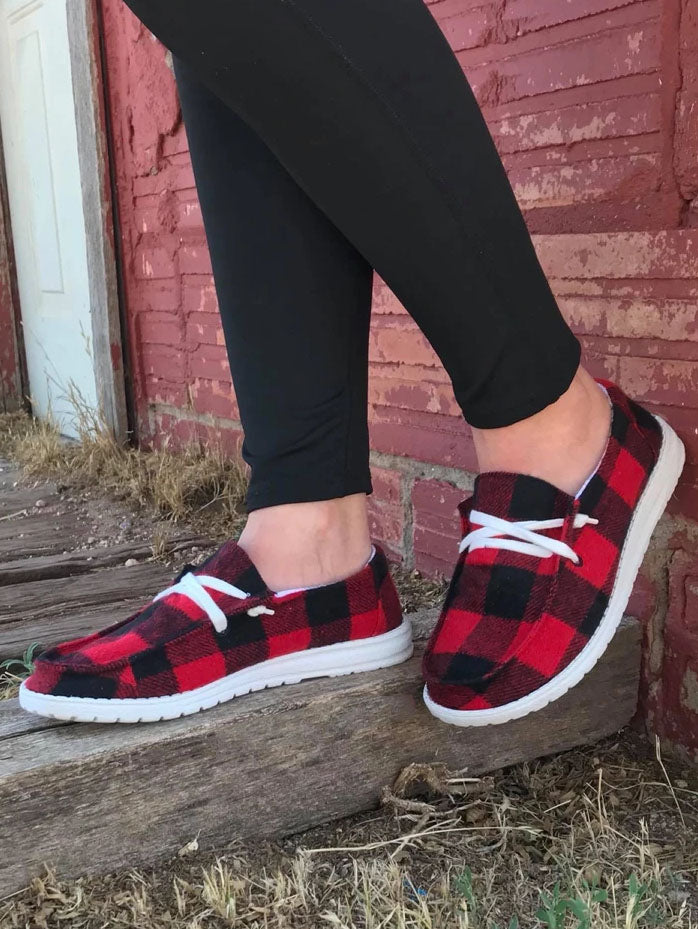 Buffalo Plaid Slip On Shoes