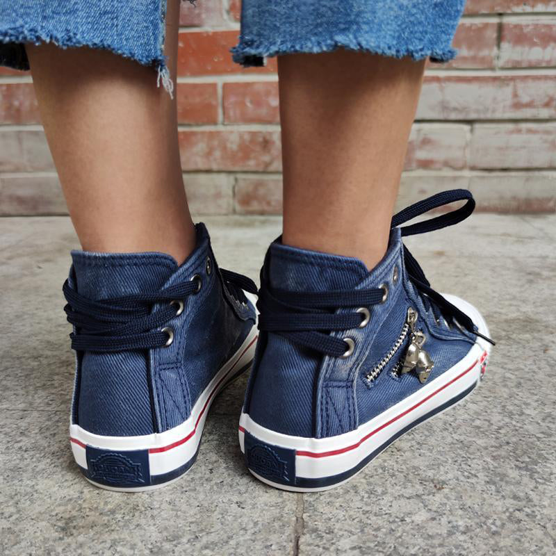 Women's Casual Denim High-top Canvas Shoes