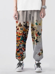 Men's butterfly print casual slacks