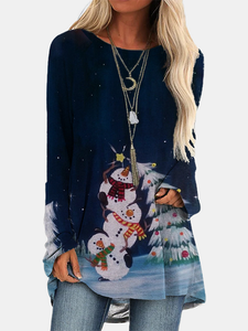Women's Snowman And Christmas Tree Print Long Sleeves T-shirt