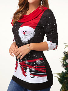 Santa Claus Print Elegant Long Sleeve T-Shirt