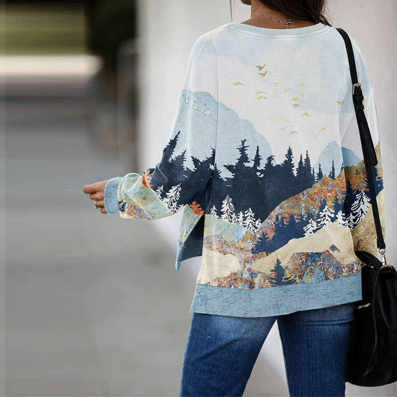 Landscape print crew neck autumn and winter sweatshirt