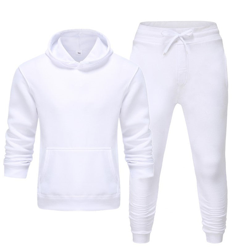 Men's and women's casual sport fall/winter hoodie suit in solid color