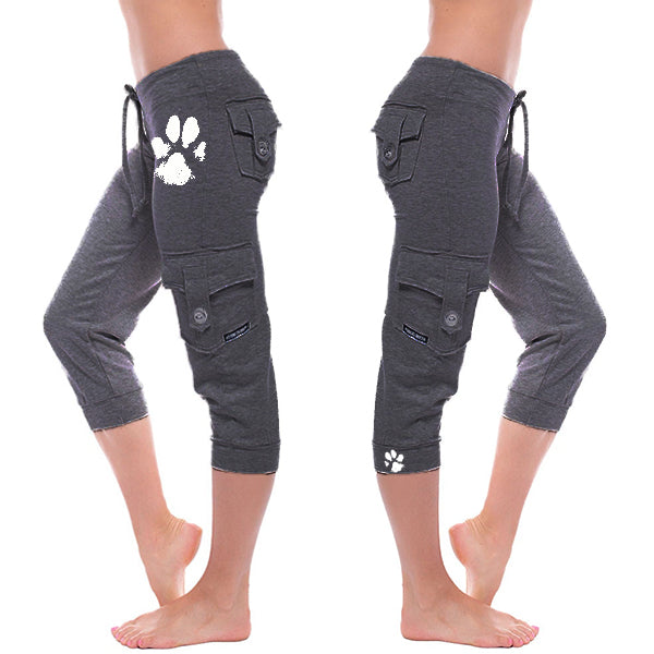 Lovely Paw Print Cargo Comfy Capris Pants