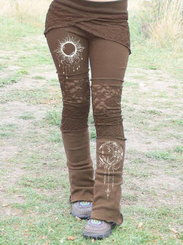 Women's Vintage Lace Print Patchwork Stretch Leggings