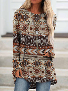 Ladies ethnic print long sleeve printed T-shirt