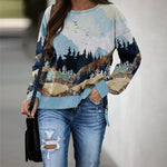 Load image into Gallery viewer, Landscape print crew neck autumn and winter sweatshirt