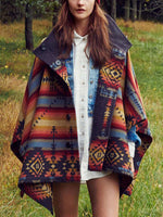 Load image into Gallery viewer, Ethnic print loose stand collar woolen coat