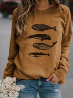 Load image into Gallery viewer, Whale printed casual sweatshirt