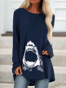 Women's Shark Print Long Top
