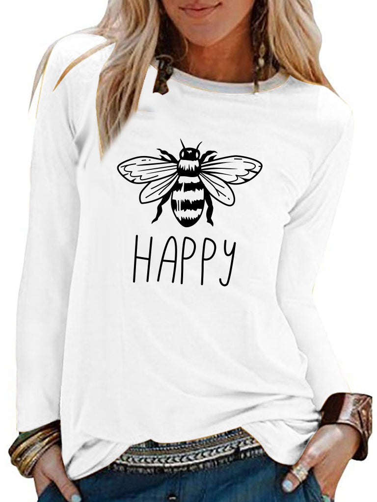 Happy bee printed casual long-sleeved T-shirt