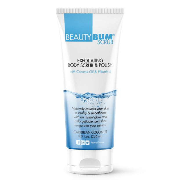 Exfoliating Body Scrub & Polish for Women, Smooth skin. Fresh scent Beauty-Bum® Scrub is your bathing routine. Nourishment and revitalizing your skin with ingredients like vitamin E and coconut oil. | BeautyFit® USA