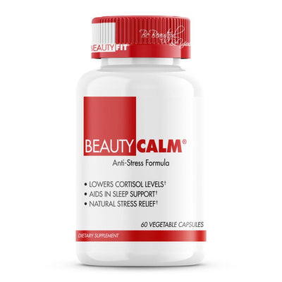 Ease your body and mind. BeautyCalm® is formulated to naturally support a healthy adrenal stress response; adjusting to physical, mental, and emotional stressors through the production of cortisol.  Anti-Stress Formula Lowers Cortisol Levels  Aids In Sleep  Support Natural Stress Relief Improve Sleep Improve Libido | BeautyFit® USA