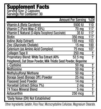 BeautyEssentials® Nutrients To Optimize Tissue Production Of Proteins Needed For The Development Of Healthy And Strong Hair, Skin And Nails.  • Age-Fighting Antioxidants  • Provides Pro-oxidant Selenium  • Increases Strength of Hair, Skin and Nails  • Supports Skin Collagen Rejuvenation  • Provides Essential Fats For Shiny, Lustrous and Long Hair | BeautyFit® USA