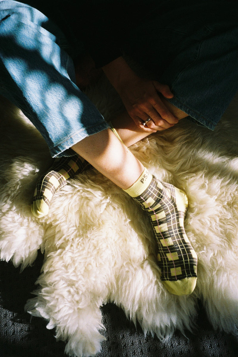 Citrus Tartan Sock Cotton
