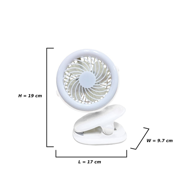 AJF-5509W AKARI Junior Rechargeable Clip Fan w/ Ring Light - WHITE