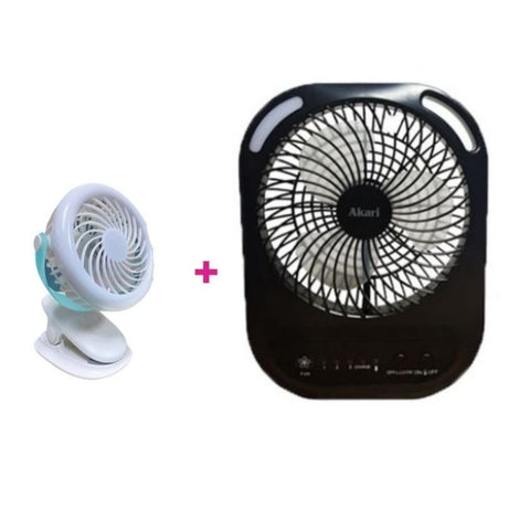 "Buy 6"" Rechargeable Box Fan w/ Speaker & LED Get Junior Rechargeable Clip Fan w/ Ring Light - BLUE"