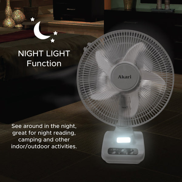 "ARF-5313F 12"" Rechargeable Oscillating Fan w/ LED Night Light"
