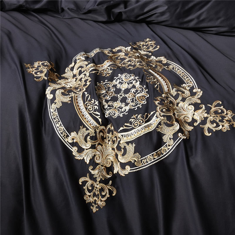 Gold embroidery Black Egyptian Duvet Soy bean comforter Set 700TC - Tiffanycovers