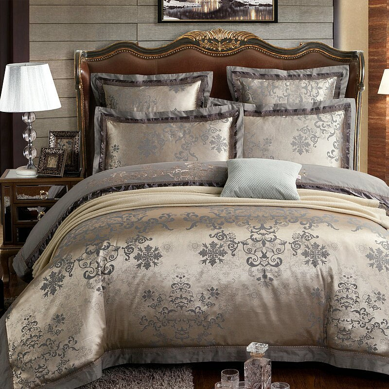 Fateena Silver Brown Luxury Satin Cotton lace Duvet Cover Set