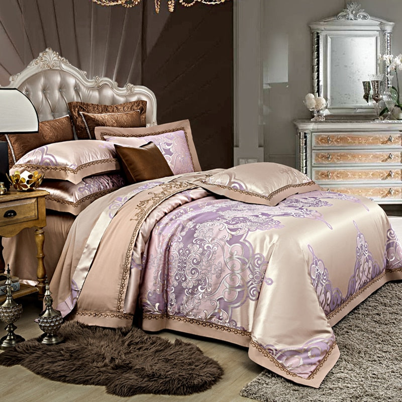 Alozia Silk Cotton Satin Jacquard Luxury Chinese Duvet Cover Set