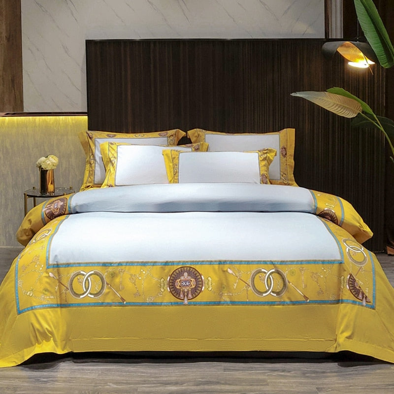Alivia Border Motif Panel Embroidered Egyptian Cotton Duvet Cover Set