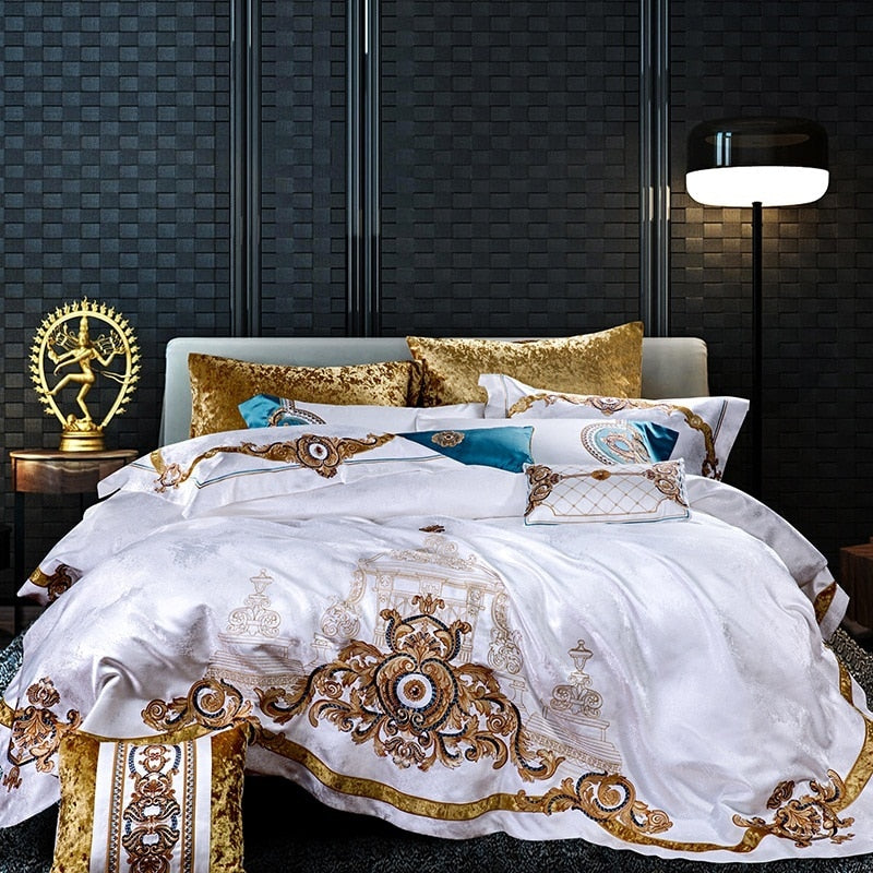 Evaria Satin Cotton Luxury Royal Duvet Cover Set