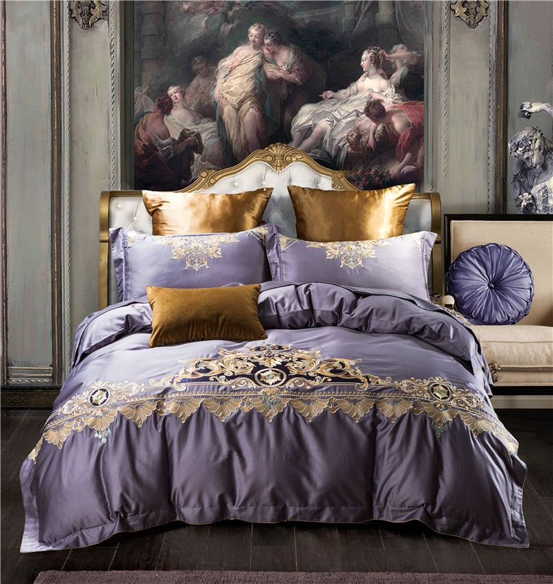Umeyra Luxury Oriental Embroidery Egyptian Cotton Royal Duvet Cover Set