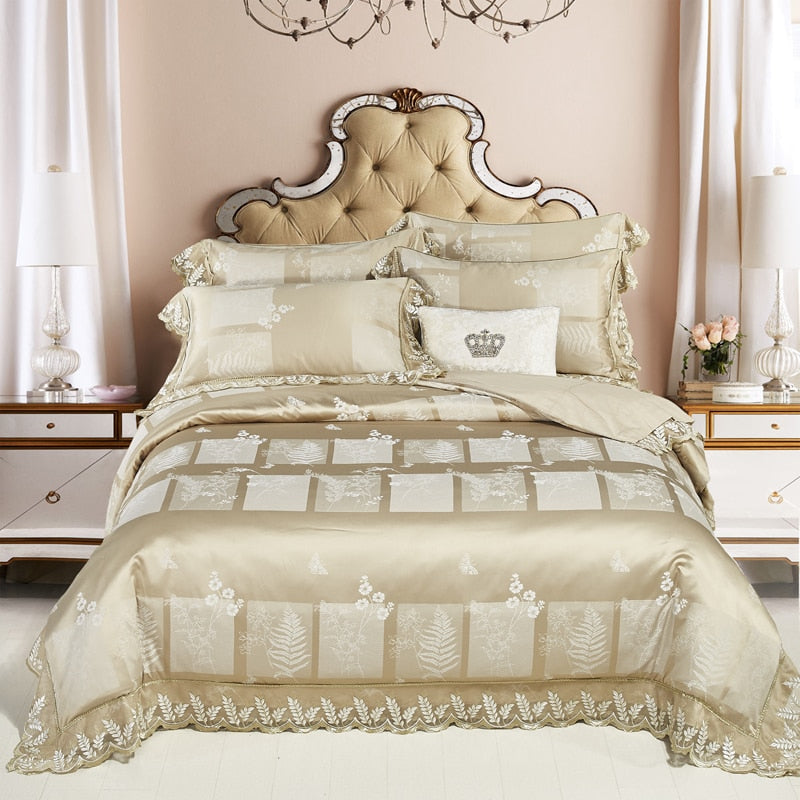 Bellor Gold Embroidered Cotton Stain Jacquard Luxury  Duvet Cover Set