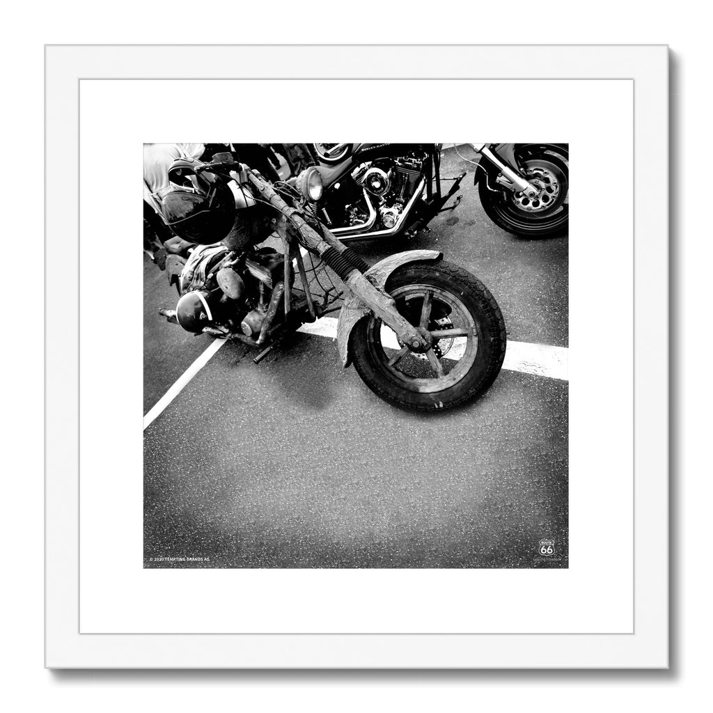 ROUTE 66® Old Motorbike Framed & Mounted Print
