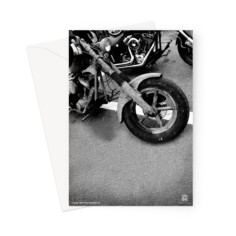 ROUTE 66® Old Motorbike Greeting Card