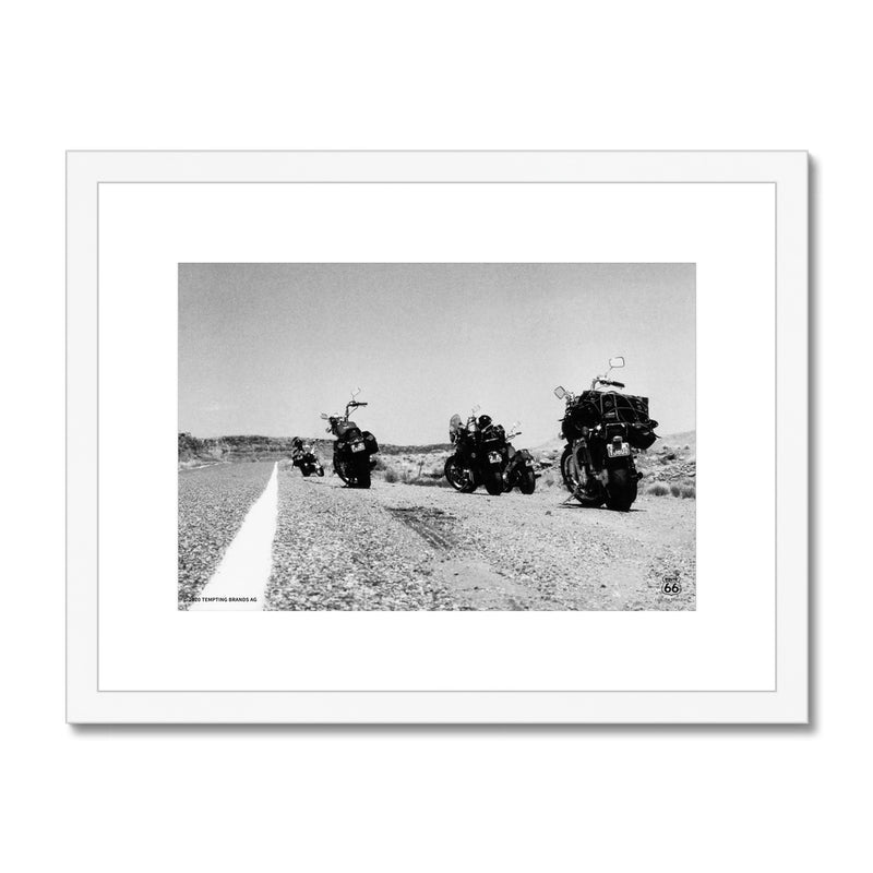 ROUTE 66® Parked Motorbikes Framed & Mounted Print