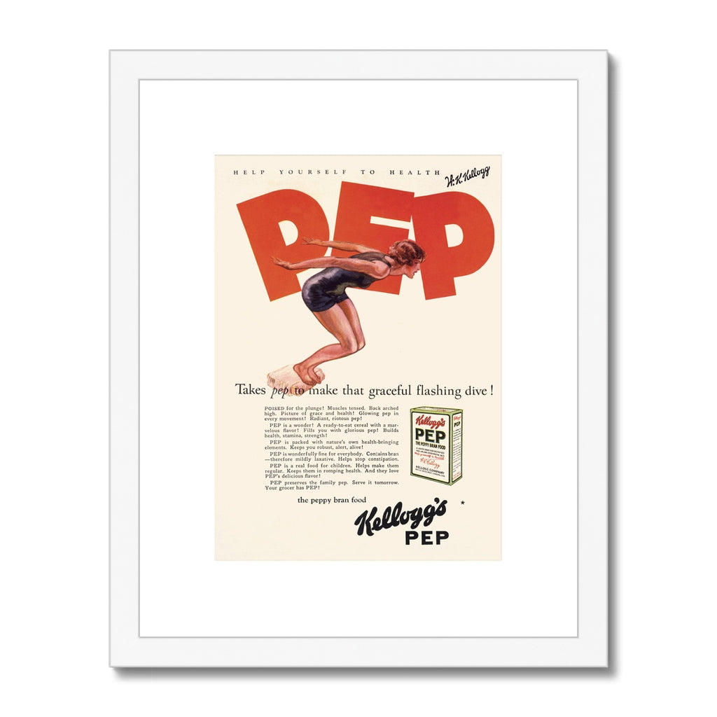 Kellogg's™ Pep Diver Retro Box Framed & Mounted Print