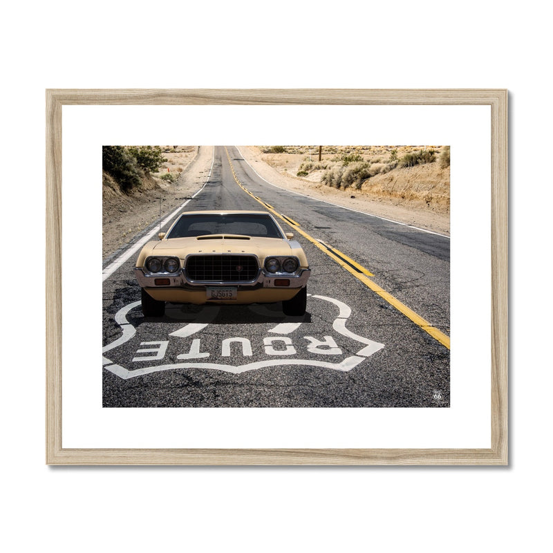 ROUTE 66® Vintage Car Framed & Mounted Print