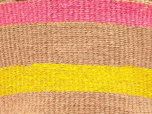 The Basket Room Pink and Yellow Stripe Shopper Bag
