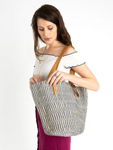 Load image into Gallery viewer, The Basket Room Blue Woven Tote Bag