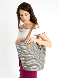 The Basket Room Blue Woven Tote Bag