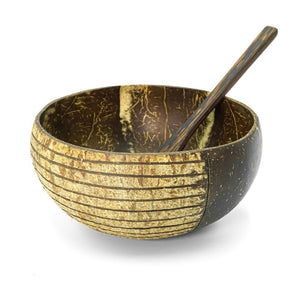 Coconut Bowl and Wooden Spoon Set
