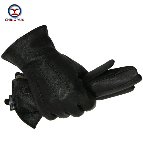 2019 Winter men deer skin leather gloves male warm soft black sewing design men mittens imitate rabbit hair 70% wool lining-07
