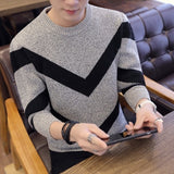 Striped Sweaters And Pullovers Men Long Sleeve Knitted Sweater Homme High Quality Winter O Neck Pullovers Warm Ployester Coats