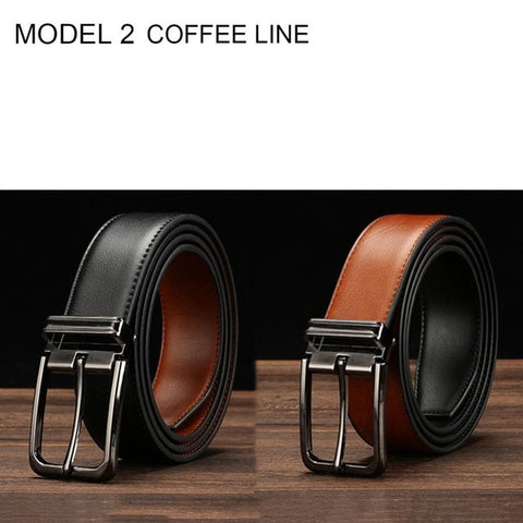 HIDUP Brand Name Real Genuine Belts for Men Retro Style Double Side Faced Leather Belt 3.3cm