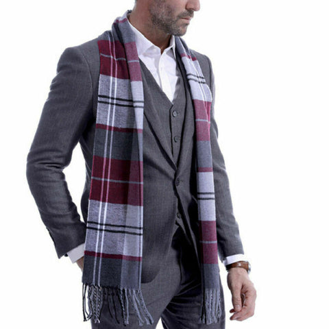 Mens Scotland Soft Scarf Wool Check Plaid Winter Warm Shawl Neck Wrap Long Scarf Fashion Men Scarves Plaid Warm Wraps