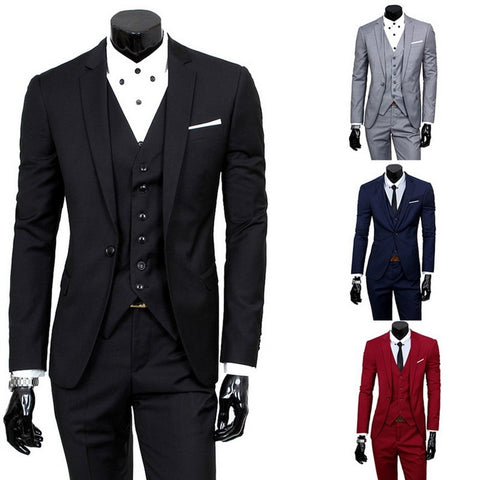 Male Slim Fit Tuxedo Men Formal Business Work Wear Suits 3Pcs Set (Jacket+Pants+Vest)