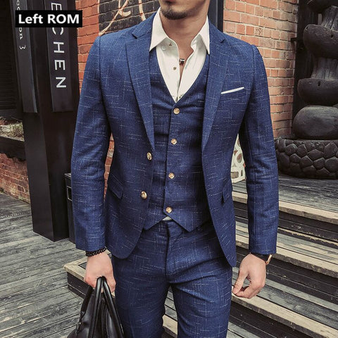 Men's Plaid Formal Business Suit 3 Piece Set / Men's High-end Casual Suits ( Jacket + Vest + Pants )